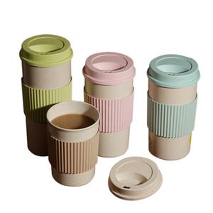Buğday Straw Yuvarlak Plastik Çay Tumblers Kupası Kupalar Su Şişesi Termos bulaşığı Araçları Taşınabilir Kahve