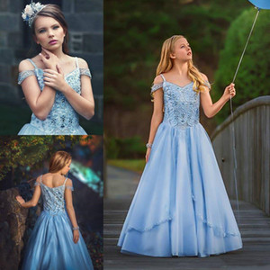 Custom Made Beaded Luxury Flower Girls' Desses for Weddings Zipper Back A Line Princess Party Pageant Gowns