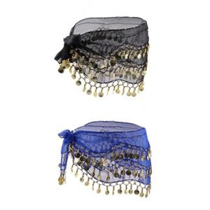 2 unids Lady Women Belly Dance accesorios de la bufanda de la cadera 3 Row falda de la correa con oro Belly Dance Tone Coins cintura Wrap adultos desgaste