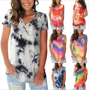 Camisetas Tie-tingido em v-pescoço Tops de verão t-shirt feminino moda manga curta camisas casuais harajuku blusas mulheres designer roupas B7513