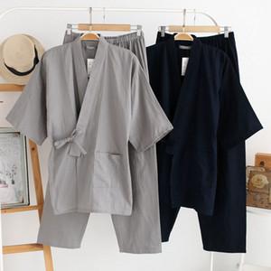 QWEEK Осень Мужская Пижама Комплекты 100% хлопок Кимоно мужских пижам в японском стиле Пижама Мужчины Soft Home Wear 2 шт Высокой QualityMX190904