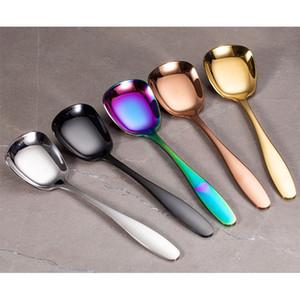 304 Paslanmaz Çelik Kaşık çatal bıçak Kare Kafa Düz paslanmaz çelik kaşık bulaşığı Tatlı Mutfak Aracı 7 Renk HH9-2533