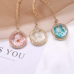 Hot Fashion Jewelry Round Crystal Glass Dry Flower Slide Pendant Necklace