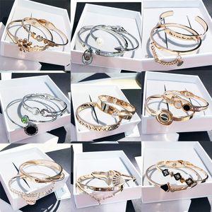 Titanium Aço Bangle Abrir Cuff Rose Gold Silver pulseiras pretas Mix Styles Luxo Tendência coreano grosso de alta qualidade DHL livre Jóias