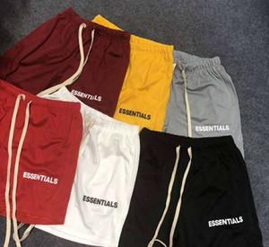 6 colores del verano del Mens cortos FOG Esencial netas pantalón casual de playa Correr: Calle cortocircuitos de la manera de lazo