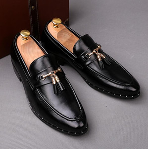New 2019 Men shoes black leather men's casual shoes Handmade luxurious comfortable breathable spring fashion men loafers Size: EU39-43