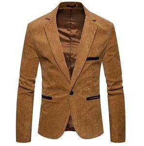 Mens Designer Corduroy Blazer Mode Single Button Solid Color Jacke beiläufige V-Ausschnitt Langarm-Jacke Male Apparel