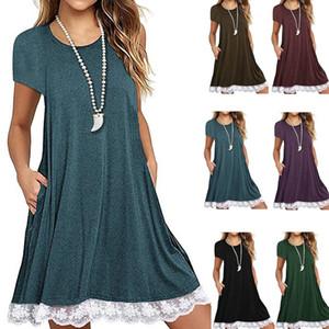 레이디 뜨거운 판매 짧은 소매 출산 드레스 솔리드 컬러 레이스 라운드 넥 여성 드레스 정장 여름