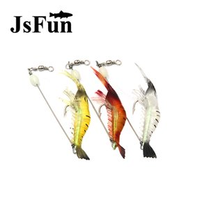 3pcs Jsfun 18cm 6g Artificial Shrimp Fly Fishing Lures Soft Lure Bait With Hook Luminous Glow Bead Silicon Fishing Tackles Fu226