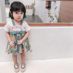 Girls' Summer Short Sleeve Print Dress Hanfu Toddler Baby Girls Summer Short Sleeve Print Clothes Princess Dress Hot Sell