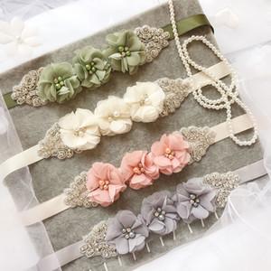 Mulheres da fita Bridal Flower Três elegante Sash Rhinestone frisada Cintura Vestido de Noiva cinto 12 Cor