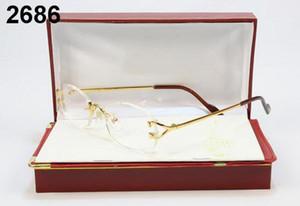 Frankreich Design Männer randlose Glas-Holz-Buffalo Horn-Glas-Marken Optische Sonnenbrille Frauen Goldhölzernes Brille Brillenfassungen wuth Fall
