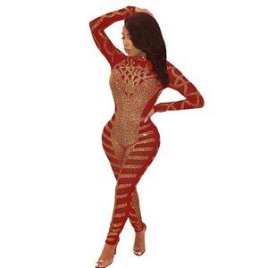 Diamanti Adogirl Sparkle asimmetriche Sheer Mesh tuta Mock Neck Long Sleeve Women Sexy Night Club partito pagliaccetto tute
