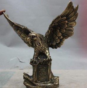 Decorazione in ottone Ottone puro Buon valore Fortunato Cina OTTONE Scultura in rame Decorazione artistica Fengshui Rapace Aquila Statua di falco