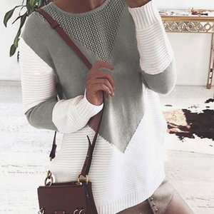 Fashion Women Long sleeves O neck Hit color Hollow Split the fork Sweater