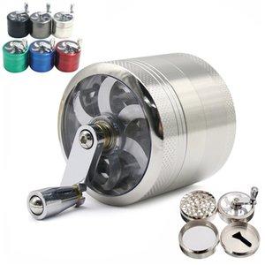 Tabak Grinder 55mm 4 Schichten Zicn Alloy Handkurbel Tabak Grinder Metall Hand Muller Pfeffermühlen Rauchzubehör CCA12082