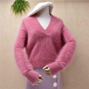mujeres de las señoras de la moda dulce con cuello en V de color rosa cosecha corta de visón cachemira de la parte superior suelta de angora jersey de punto de pieles puente suéter de invierno
