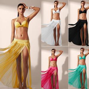 وصول المرأة الصيف مثير التفاف شاطئ الغلاف بيكيني ملابس يصل ردائه شبكة الشيفون الشق تنورة طويلة