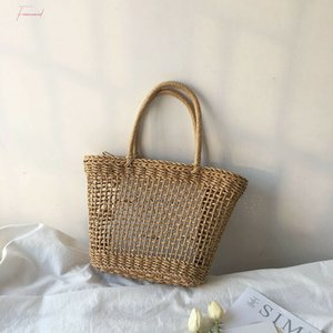 2020 Newest Hot Women Summer Beach Tote Bag Ladies Casual Holiday Wicker Straw Rattan Hollow Out Hand Woven Bags