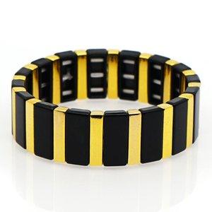 Shinus Trendy Bracelets 2020 New Black and Gold Enamel Tile Bracelet Men or Women Jewelry Personalized Handmade Diy Armband