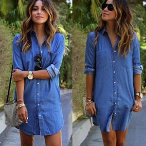 Mode causales femmes Blue Jeans Denim T-shirt manches longues Casual vrac Shirt Mini robe Taille Plus S-5XL
