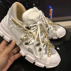 Mens Flashtrek com Sapatilhas De Cristal Removível Sapatos de grife mulheres Branco Verde Preto Rosa Formadores De Couro Metálico Qualidade Superior SZ 5-11