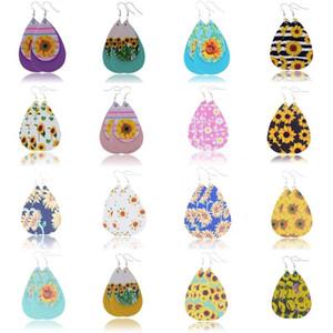 Lágrima Pendientes de alta calidad de girasol Impreso de imitación de cuero colorido capas patrón de flores regalos pendientes de gota de agua creativas
