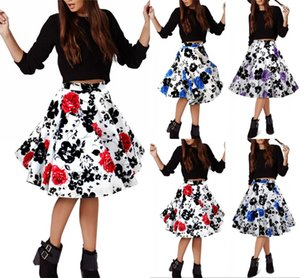 Vintage Cotton Skirt Women Sexy Mini Summer Skirt High Waist Floral Flare Pleated Women Skirt FS0223