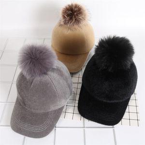 Peluş Kürk Ball Cap Kış Beyzbol GGA3084 3STYLE Sonbahar Ve Kış Kalın Hat Katı Snapbacks Açık Caps Şapka