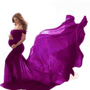 LONSANT Robe de maternité Femmes Photographie Props épaules de maternité sans manches solide femme enceinte Clothes Drop navire Nouveau 2020