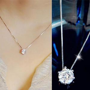 1Pc 925 Sterling Silver Invisible Fishing Line Zircon Pendant Chaindant Fashion Women Charm المجوهرات