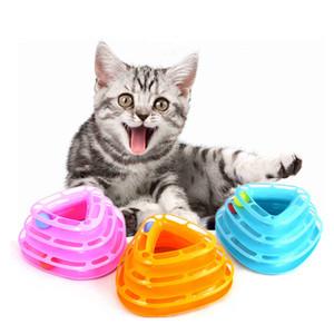 Cat trois couches Triangle ronde Turntable Puzzle Jouer piste Tour Cat Interactive Pet Toy Pet Supplies