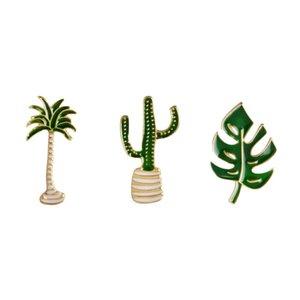 Simple Cartoon Green Plant Coconut Tree Cactus Leaf shape Brooch Pins DIY Button Pin Denim Jacket Pin Badge brooch Gift Jewelry 10pcs lot