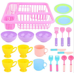 21 Pcs set Kids Pretend Play Dishes Kitchen Playset Wash and Dry Tableware Dish Rack Toy with Drainer