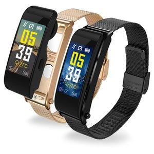 Pulseras inteligentes Bluetooth Headset Y6 Driving Running Call Auricular inalámbrico Monitor de ritmo cardíaco Presión arterial Smartwatch para Android e IOS