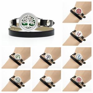 Árvore de vida cavalo Perfume medalhão Difusor de óleo Essencial pulseira bangle 25mm medalhão Preto Pu pulseira de couro mulheres jóias 10 pinos como presente