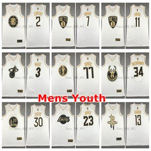 2020 Mens Youth White Golden 23 James 2 Leonard 7 Durant 11 Irving 77 Doncic 3 Wade 13 Harden 30 Curry 34 Antetokounmpo Basketball Jersey