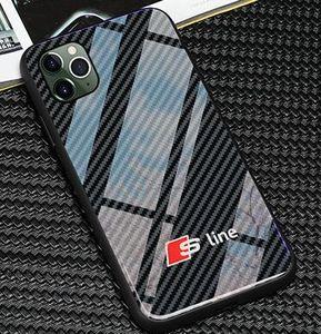 New TPU + vidro temperado Phone Case VW Golf AMG para iphone X XS Mas 6 6s 7 8 mais casos para iphone 11 pro Max audi SLINE RS Ford Mustang BMW