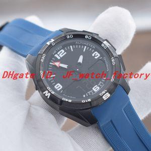 НОВЫЕ мужские часы Кварцевые электронные двойной дисплей часовых поясов PVD черный корпус синий резиновый ремешок развертывания застежка мужские часы 1853 наручные часы