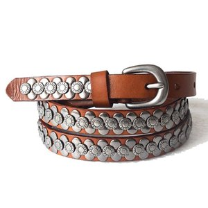 women 100% top layer rivet punk belt cow genuine leather handcrafted cintos masculinos female strap belt for jeans