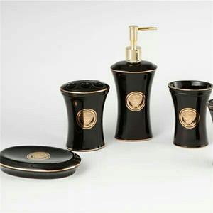Accessori da bagno in ceramica Elegante 5 pezzi Set da bagno 1 bottiglia di sapone + 1 porta sapone + 1 porta spazzolini da denti + 2 tazze colore rosa BH 0007