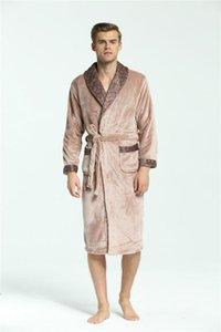 Males Designer Underwears Mens Soft Flannel Robes Winter Keep Warm Sahes Pajamas Contrast Colors Pliad Fashion Sleepwear