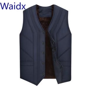 Waidx paño grueso y suave del chaleco de los hombres sin mangas Chalecos Chaleco Chaqueta de invierno 2019 hombres Veste Gotas calientes gruesos calientes masculino chalecos flojos azules