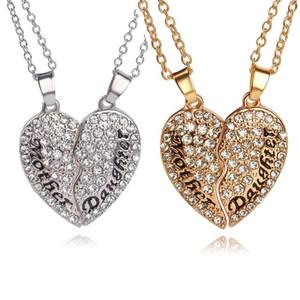 Crystal Broken Heart Mother daugter Necklace love Heart Necklace gold silver Family menber charms joyería de moda para mujeres