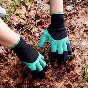 Guantes de jardín con guantes de actualización Garras, impermeable y transpirable para la excavación del jardín Plantar, Suministros de jardinería para mujeres y hombres, verde