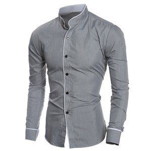 Wholesale-Men Casual Solid Color Long Sleeve Stand Collar Slim Button Closure Shirt Top