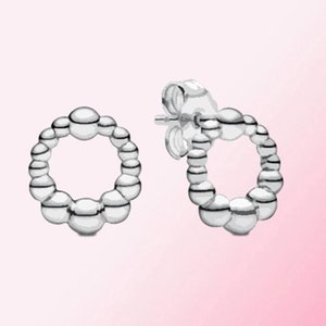 HYWo 925 Sterling Silver 1:1 2020 Beaded Circle Stud Earrings DIY Women's Charm Gorgeous Fashion Jewelry Factory Direct Free Shipping