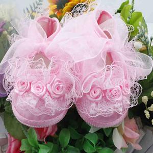 Todder pre-camminatore Shoes Rosa fiori Ribbon Bow Princessborn Baby Shoes morbida suola