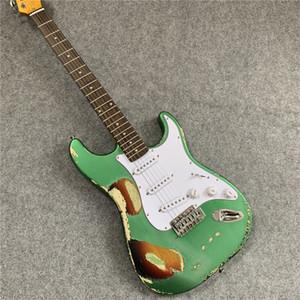 무료 배송! 친구에게 보내는 선물로 도매 골동품 올드 그린 ST 일렉트릭 기타. 전문 기타. 0516