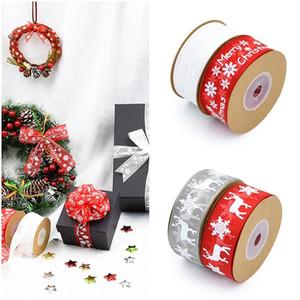 Novas fitas de natal decoração branco, fita de organza alces floco de neve vermelho diy bowknot embrulho de presente decorações da festa de ano novo